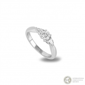 Three Stone Diamond Ring In Platinum 0.37ct G/SI2